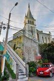 Iglesia Luterana de La Santa Cruz Cerro Alegre valparaiso chile Arkivbild