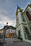 Iglesia Luterana de La Santa Cruz Cerro Alegre valparaiso chile Arkivbilder