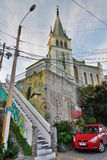 Iglesia Luterana De Los Angeles Santa Cruz Cerro Alegre valparaiso Chile Fotografia Stock