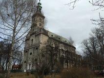 Iglesia luterana en Cieszyn, invierno de Polonia fotografía de archivo libre de regalías