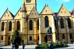 Iglesia luterana en Sibiu, capital europea de la cultura por el año 2007 Fotografía de archivo