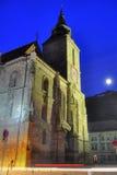 Iglesia negra en la noche, Transilvania, Luna Llena Fotos de archivo