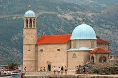 Iglesia nuestra señora de las rocas, Montenegro foto de archivo libre de regalías