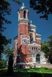 Iglesia ortodoxa bielorrusa roja Fotos de archivo libres de regalías