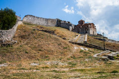 Iglesia ortodoxa bizantina en la fortaleza de Berat Imagen de archivo