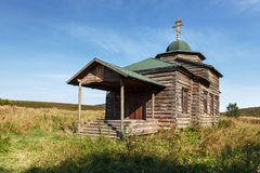 Iglesia ortodoxa de madera antigua de la suposición Rusia, Kamchatka Fotografía de archivo libre de regalías