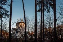 Iglesia ortodoxa en el bosque Foto de archivo libre de regalías