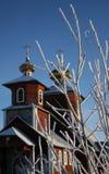 Iglesia ortodoxa en el invierno Imágenes de archivo libres de regalías