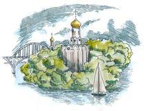 Iglesia ortodoxa en la isla ilustración del vector