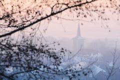 Iglesia ortodoxa en lado del país en condiciones ligeras suaves Foto de archivo