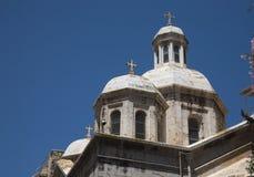 Iglesia ortodoxa encendido vía de la Rosa en Jerusalén. Fotografía de archivo