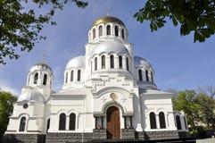 Iglesia ortodoxa famosa de Alexander Nevsky en Kamianets-Podilskyi, foto de archivo