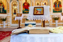 Iglesia ortodoxa moldava interior foto de archivo