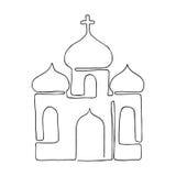 Iglesia pintada en una línea El colorante del concepto de religión Vector católico ilustración del vector