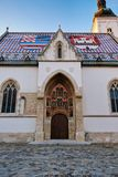 Iglesia Plaza de San Marcos de St Mark, Zagreb, Croacia fotos de archivo libres de regalías