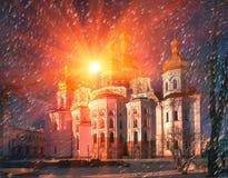 Iglesia principal de la catedral de la Kiev-Pechersk Lavra Imagen de archivo libre de regalías