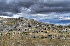 Iglesia rupestre. Sassi de Matera. Basilicata. Fotos de archivo libres de regalías