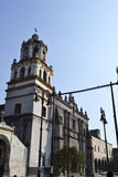 Iglesia san Juan Bautista. St. John the Baptist Church in downtown coyoacan, mexico Stock Image