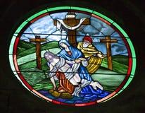 Iglesia San Miguel Mexic del arcángel del vidrio manchado Foto de archivo libre de regalías