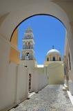 Iglesia Santorini de Fira Foto de archivo libre de regalías