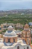 Iglesia Santorini del melocotón Foto de archivo