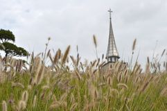 Iglesia según lo visto de enfrente de un campo Imagenes de archivo