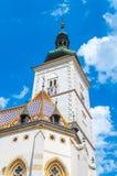 Iglesia superior del ` s de St Mark en Zagreb fotografía de archivo libre de regalías