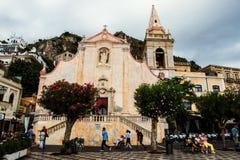 Iglesia vieja de Taormina, Italia Foto de archivo libre de regalías