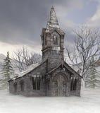 Iglesia vieja en invierno stock de ilustración