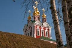 Iglesia y abedul del monasterio de Novodevichy Foto de archivo
