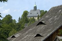 Iglesia y azotea Foto de archivo