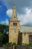 Iglesia y chapitel de St Lawrence en Warkworth imagen de archivo