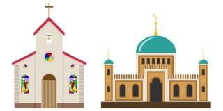 Iglesia y mezquita stock de ilustración