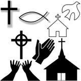 Iglesia y otros iconos cristianos del símbolo fijados stock de ilustración