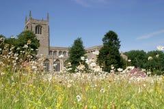 Iglesia y prado fotografía de archivo libre de regalías