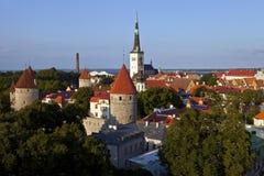 Iglesia y torre, Tallinn del St. Olav Fotografía de archivo