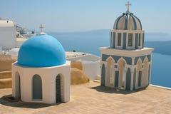 Iglesias en Santorini Imagen de archivo libre de regalías