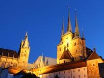Iglesias góticas en Erfurt, Alemania Foto de archivo libre de regalías
