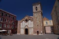 Iglesias, Sardinia. Cattedrale di Santa Chiara. Santa Chiara cathedral and main town square. Town of Iglesias, island of Sardinia - Sardegna - Italy. Italian Stock Photography
