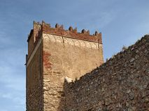 Iglesias with tower of Castle Castello Salvaterra, Sardinia Royalty Free Stock Image