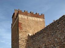 Iglesias with tower of Castle Castello Salvaterra, Sardinia Royalty Free Stock Image