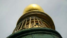 Iglica wierza wybawiciel w Kopenhaga od zamkniętego pasma Obraz Royalty Free