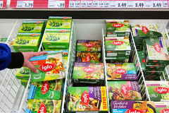 Iglo food Packages in Freezer. GERMANY - MARCH 2016: Frozen vegetables from Iglo brand in a freezer of a kaufland Hypermarket. Iglo Group is a frozen food Stock Photo