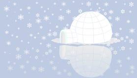 Iglo op ijs met sneeuw. Stock Fotografie