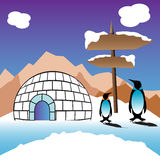 Igloo. Abstract colorful background with an igloo made from ice, two penguins and wooden pointer planted in the snow Royalty Free Stock Images