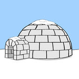 Igloo. Cartoon illustration showing an igloo in the middle of nowhere with some snow on top of it Stock Photo