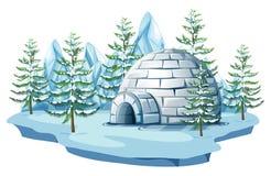 Igloo at the arctic land. Illustration vector illustration
