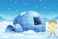 An igloo and a boy. Illustration of an igloo and a boy in nature Royalty Free Stock Photos