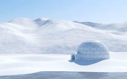 Igloo d'isolement dans le champ de neige avec le lac et la montagne neigeuse, scène arctique de paysage Photos libres de droits