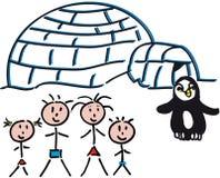 Igloo de famille Images libres de droits